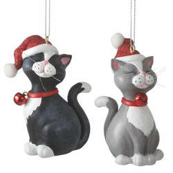 black whitegray white cat with santa hat ornament - Black Cat Christmas Ornament