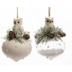white owl with pine cones on onion ornament