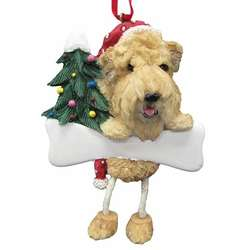 wheaten terrier with santa hatchristmas treebone dangle ornament - Goldendoodle Christmas Decorations