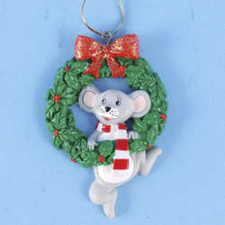 christmas mouse hanging on wreath ornament