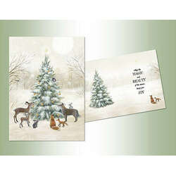 woodland animals with christmas tree christmas cards - Animal Christmas Cards